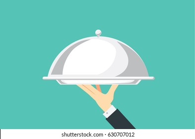 Hand of waiter holding silver tray with lid. Illustration about catering.