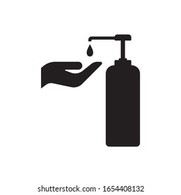 Hand wash gel icon on white background. Hand sanitizer sign and symbol.