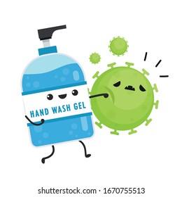 Hand wash gel vector. Hand wash gel character design. Hand wash gel and Bacteria vector.