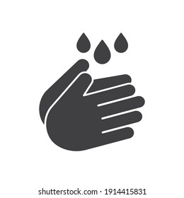 Hand wash icon in flat style, Clean hands symbol, icon for websites and print