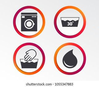 Hand wash icon. Machine washable at 30 degrees symbols. Laundry washhouse and water drop signs. Infographic design buttons. Circle templates. Vector