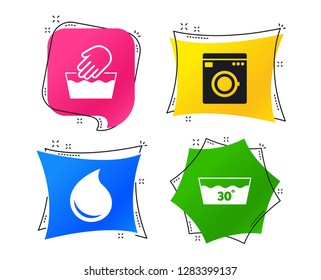Hand wash icon. Machine washable at 30 degrees symbols. Laundry washhouse and water drop signs. Geometric colorful tags. Banners with flat icons. Trendy design. Vector