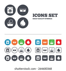 Hand wash icon. Machine washable at 30 degrees symbols. Laundry washhouse and water drop signs. Web buttons set. Circles and squares templates. Vector