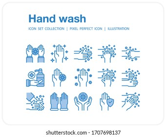 Hand wash icons set, Pixel perfect icon, Set of icons for web and mobile