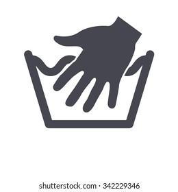 Hand wash only. Washing sign. Laundry symbols