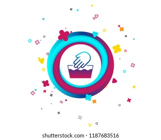 Hand wash sign icon. Not machine washable symbol. Colorful button with icon. Geometric elements. Vector