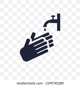 Hand wash transparent icon. Hand wash symbol design from Cleaning collection. Simple element vector illustration on transparent background.