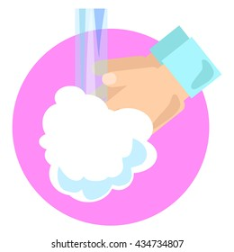 Hand wash vector illustration in flat style, cartoon image for personal hygiene, washing hands reminder image, round icon with hands washed with soap, cleaning hands picture, personal health care