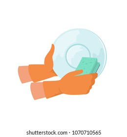 Hand washing dish with sponge, cleaning and housework concept vector Illustration on a white background