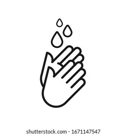 Hand washing icon. Hands with water drops symbol. Outline symbol. Prevention against viruses, bacteria, flu, coronavirus. Concept of hygiene, cleanliness, disinfection.Vector illustration, flat design