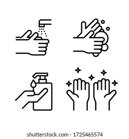 Hand washing icons set. Line vector. Isolate on white background.