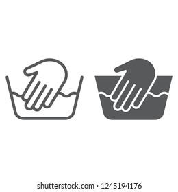 Hand washing line and glyph icon, laundering and wash, hand sign, vector graphics, a linear pattern on a white background, eps 10.