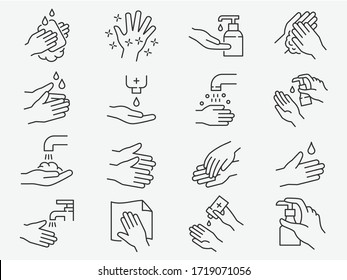 Hand washing line icons set. Vector illustration on a white background. Editable stroke.