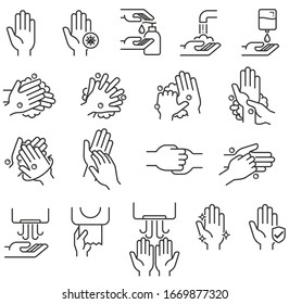 Hand washing steps icons vector illustrations.