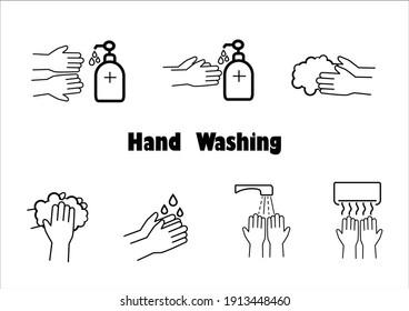 Hand washing thin line icon set,vector illustration