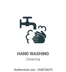 Hand washing vector icon on white background. Flat vector hand washing icon symbol sign from modern cleaning collection for mobile concept and web apps design.