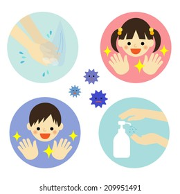 Hand washing with water and alcohol for kids / Vector EPS 10 illustration