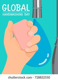 Hand washing and water drop info graphic