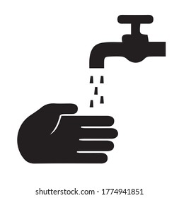 Hand washing water silhouette icon illustrator isolated