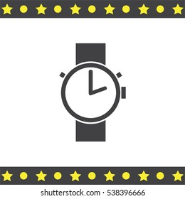 Hand watch vector icon. Wristwatch sign. Time shower symbol