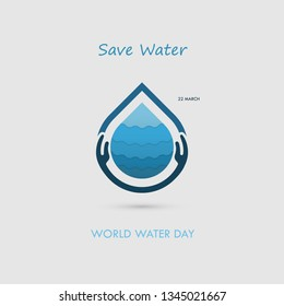 Hand and Water drop with water waves icon vector logo design template.World Water Day icon.World Water Day idea campaign for greeting card and poster.Vector illustration