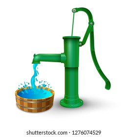 Hand water pump and wooden bucket. Bowl or pelvis with clean drinking water. Vector illustration.