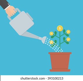 Hand with watering can watering money plant. Investment concept. Flat design