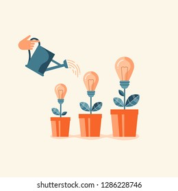 Hand watering light bulbs in flowerpots. Flat design vector illustration concept for creative innovative work, investing into ideas, growing business, innovation isolated on stylish background