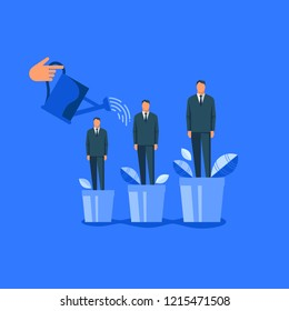 Hand watering men in flowerpots. Flat design vector illustration concept for career, professional growth, supporting employees, coaching, human resource management isolated on bright background
