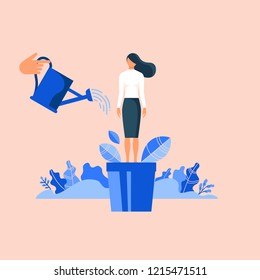 Hand watering woman in flowerpot. Flat design vector illustration concept for career, professional growth, supporting employees, coaching, human resource management isolated on bright background
