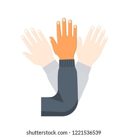 Hand wave. Human waving hi or hello. Gesture hand. Inclusion of a motion sensor. Vector illustration flat design. Isolated on white background.
