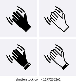 Hand wave Icons, Waving hi or hello Vector