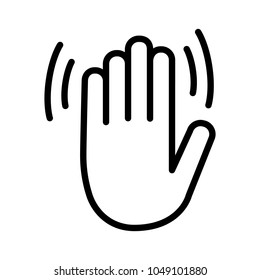 Hand wave / waving hi, hello, bye or goodbye gesture line art vector icon for apps and websites