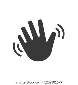 Hand wave waving hi or hello. Vector icon