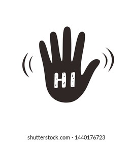 Hand wave waving hi or hello gesture flat vector icon for apps and websites. Greeting sign. Hello symbol. Give five icon.