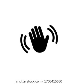 Hand waving hello, bye icon. Silhouette icon waving hand in black simple design on an isolated background. EPS 10 vector
