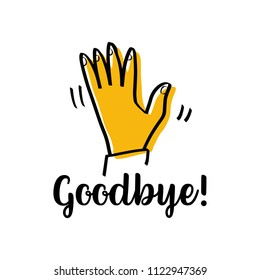 Hand waving as hello welcome sign or goodbye gesture line isolated background.