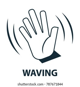 Hand waving sign - vector
