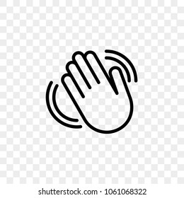Hand waving vector icon of hello welcome or goodbye gesture line isolated on transparent background