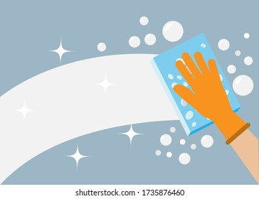 Hand wearing glove holding sponge with foam and bubbles cleaning window/wall. Vector Illustration. Idea for cleaning house to protect from covid-10/bacteria and diseases or cleaning service.