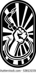 Hand with welding torch emblem vector