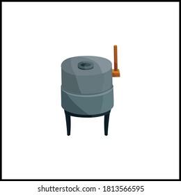 hand wheat millstone flat vector illustration