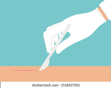 Hand with white glove on holding scalpel and making a small cut on a skin colored surface. Surgery concept
