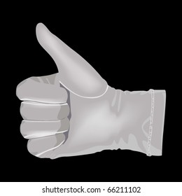 Hand in a white glove shows a symbol of victory