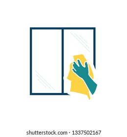 Hand wiping window icon. Flat color design. Vector illustration.