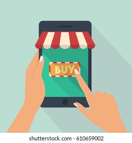 hand of woman hold tablet and pointing or press to the shop online concept vector online store on the smartphone concepts vector illustration flat modern style
