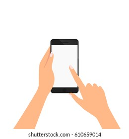 hand of woman is holding smartphone and pointing on the blank screen for add object vector illustration