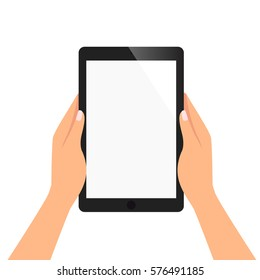 hand of woman is holding tablet to read the content ,blank screen for add object vector illustration