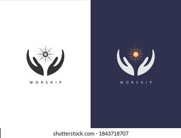Hand Worship with Sun Ray Logo Vector