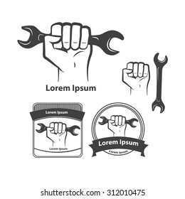 hand with wrench, car service idea, design elements and templates